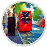 London Bus Stop Round Beach Towel