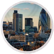 Round Beach Towel featuring the photograph London City Of Contrasts by Lois Bryan