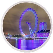 London Cityscape At Night 5x7 Round Beach Towel