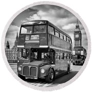 London Classical Streetscene Round Beach Towel by Melanie Viola
