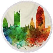 London England Skyline Panorama Gblo-pa02 Round Beach Towel