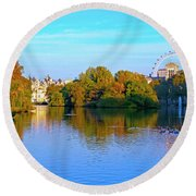 London Eye And Palace Round Beach Towel by Haleh Mahbod
