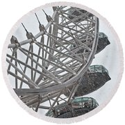 London Eye And Snow Round Beach Towel