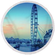 London Eye At Dusk Round Beach Towel by Lana Enderle
