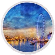 Round Beach Towel featuring the photograph London Eye by Ian Mitchell
