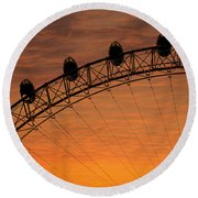 London Eye Sunset Round Beach Towel by Martin Newman