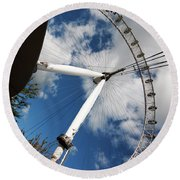London Ferris Wheel Round Beach Towel