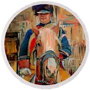 London Guard On Horse Round Beach Towel