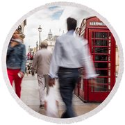 London In Motion Round Beach Towel
