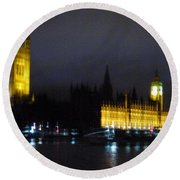 Round Beach Towel featuring the photograph London Late Night by Christin Brodie