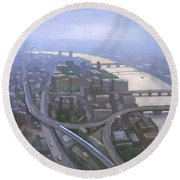 London, Looking West From The Shard Round Beach Towel by Steve Mitchell