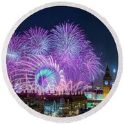 London New Year Fireworks Display Round Beach Towel