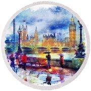 London Rain Watercolor Round Beach Towel