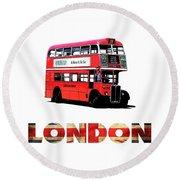 London Red Double Decker Bus Tee Round Beach Towel