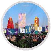 London Skyline Collage 1 Round Beach Towel
