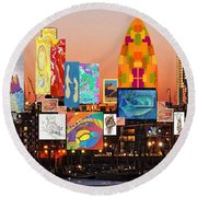London Skyline Collage 2 Round Beach Towel