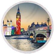 London Skyline Collage 3 Inc Big Ben, Westminster  Round Beach Towel