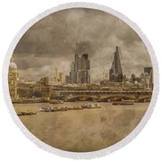 Round Beach Towel featuring the photograph London, England - London Skyline East by Mark Forte