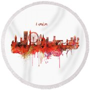 London Skyline Watercolor Round Beach Towel