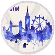London Skyline Watercolor Poster - Cityscape Painting Artwork Round Beach Towel