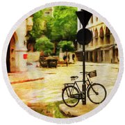 Round Beach Towel featuring the photograph London Street Bicycle by Craig J Satterlee