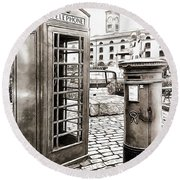 London Telephone Box And Post Box Round Beach Towel