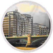 London Round Beach Towel by Therese Alcorn