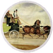 London To Bristol And Bath Stage Coach Round Beach Towel