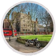 Round Beach Towel featuring the photograph London Transport by Adrian Evans