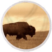 Lone Bison  Round Beach Towel by American West Legend By Olivier Le Queinec