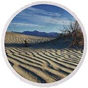 Lone Bush Death Valley Hdr Round Beach Towel by James Hammond