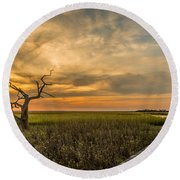 Lone Cedar Dock Sunset - Dewees Island Round Beach Towel