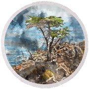 Lone Cypress In Monterey California Round Beach Towel