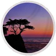Lone Cypress Tree At Pebble Beach Round Beach Towel