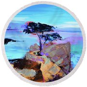 Lone Cypress - California Round Beach Towel