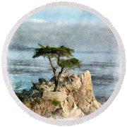 Lone Cypress Watercolor Round Beach Towel