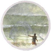 Lone Fisherman Four Round Beach Towel