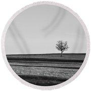 Lone Hawthorn Tree Iv Round Beach Towel by Helen Northcott