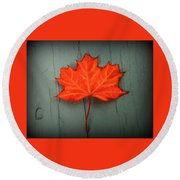 Lone Leaf Round Beach Towel