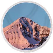 Lone Mountain Alpenglow Panoroama Round Beach Towel