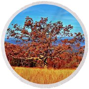 Lone Mountain Tree Round Beach Towel