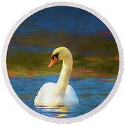Lone Mute Swan. Round Beach Towel