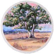 Lone Oak Round Beach Towel