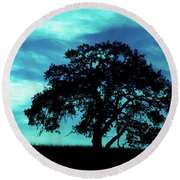 Round Beach Towel featuring the photograph Lone Oak by Jim and Emily Bush
