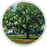 Round Beach Towel featuring the painting Lone Oak by Hailey E Herrera