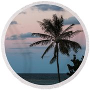 Lone Palm At Sunset Round Beach Towel