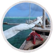 Lone Red Starfish On A Wooden Dhow 1 Round Beach Towel