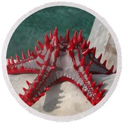 Lone Red Starfish On A Wooden Dhow 3 Round Beach Towel