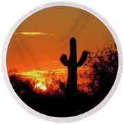 Lone Saguaro Sunrise Round Beach Towel