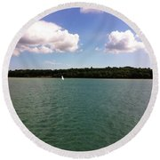 Lone Sailor Round Beach Towel